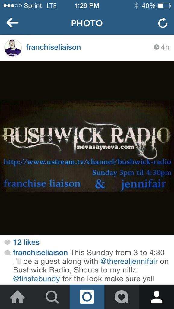 Chicago's @iamjennifair & Brooklyn's @LiaisonMM sharing airtime Sunday Q & A  @BUSHWICK_RADIO  http://t.co/oKFqjc35uc http://t.co/MSrtklikST