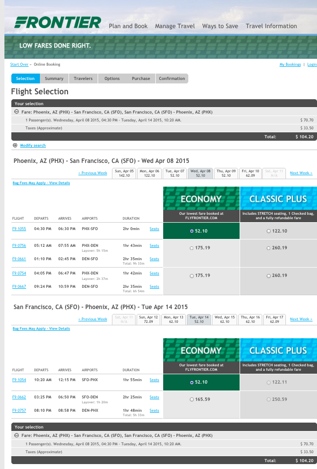 Phoenix-SFO $104 RT nonstop on Frontier thru mid-Apr