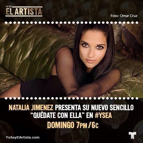 """Hoy llega @NataliaJimenez al escenario de @ElArtistaTV para deleitarnos con el estreno mundial de #QuédateConElla! http://t.co/en3BWifhjC"""""""