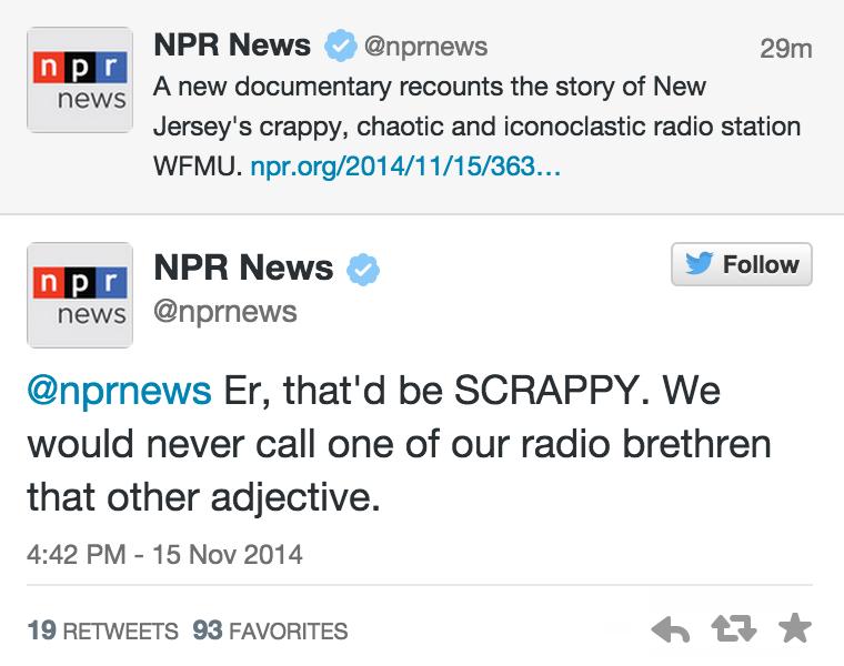 Cooper Fleishman (@_Cooper): Scrappy save there, NPR http://t.co/jZAEPSPivi