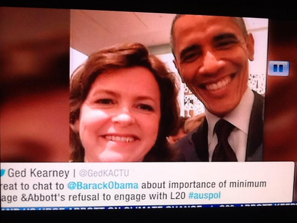 """Channel 7 described this as a """"mother of four"""" who managed to get a selfie with Obama http://t.co/i43YHX09QM"""