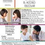 TALLER MANEJANDO DESDE LA FAMILIA EL #ACOSO ESCOLAR * 29 de noviembre * Altamira, #Caracas @microfamiliando http://t.co/I0N47QPWus