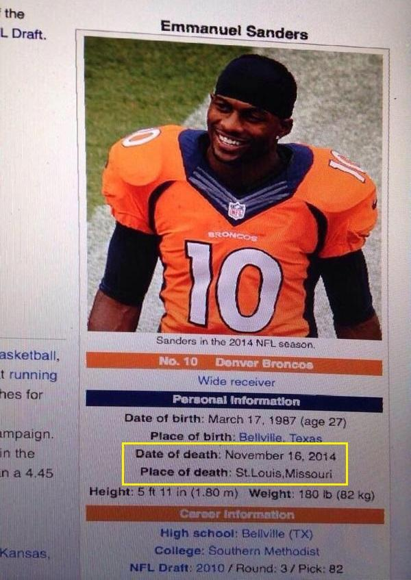 Emmanuel Sanders' Wikipedia page updated to list him as dead after huge hit http://t.co/Rgxzjs1R8C http://t.co/twIVekrndR