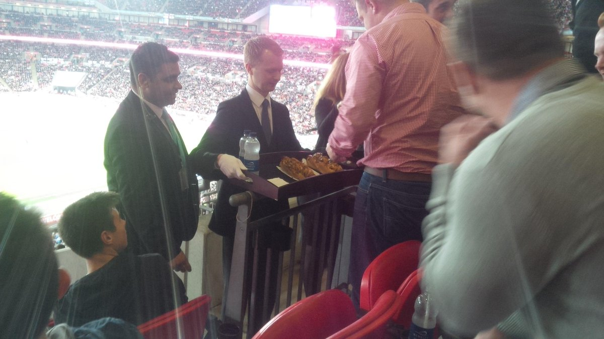 New low point for football at Wembley yesterday. View of game from stands blocked while waiter delivered main course http://t.co/yPgTkgtEgv