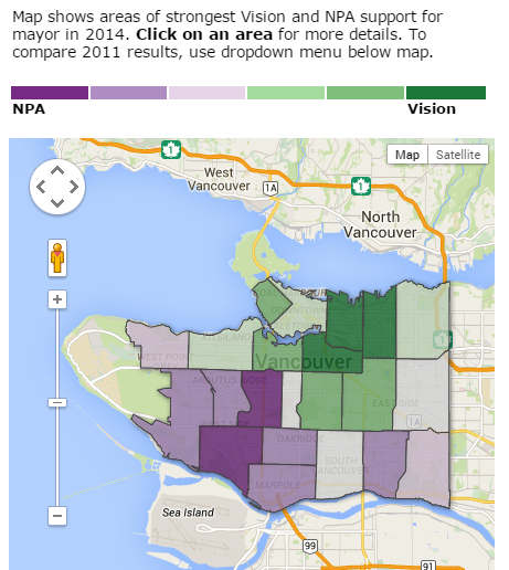 .@MayorGregor won. But who did your neighbourhood vote for? Our map is up http://t.co/W6Dhv0O5z4 #vanpoli http://t.co/H0rIInu1wP