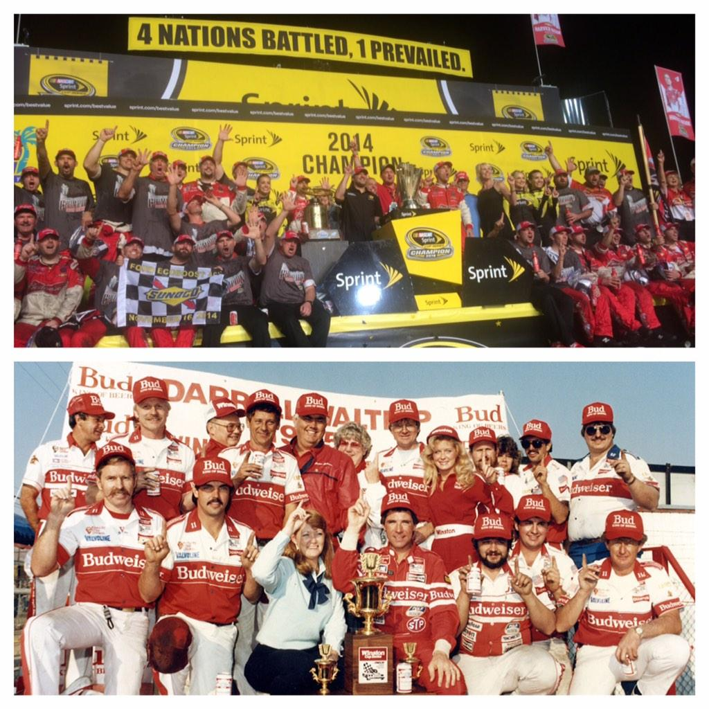 Back on the championship stage in the #NASCAR Sprint Cup Series! 1985 w/ @AllWaltrip and now 2014 w/ @KevinHarvick! http://t.co/IboZnCrygx