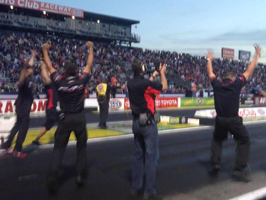 History is made! @erica_enders is the 1st female Pro Stock NHRA Mello Yello World Champion! #NHRA http://t.co/HNnSvfWbPB