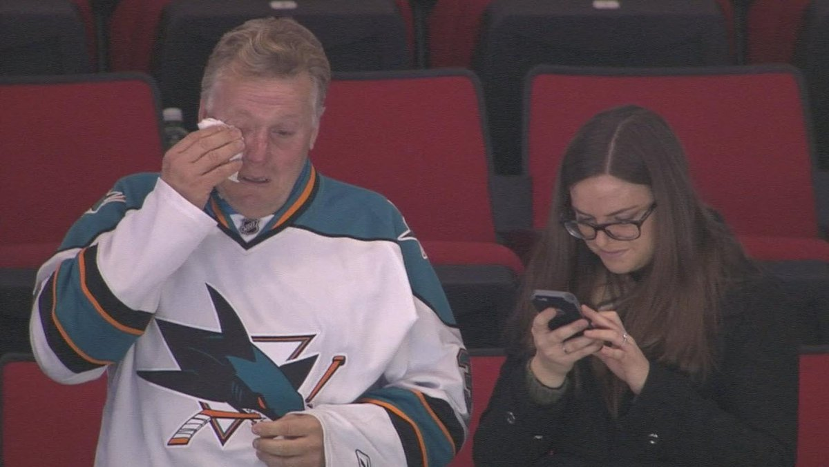This is what sports are all about.    Troy Grosenick's father Scott, after his son earns #sjsharks a shutout win. http://t.co/FXE0U7xOUj
