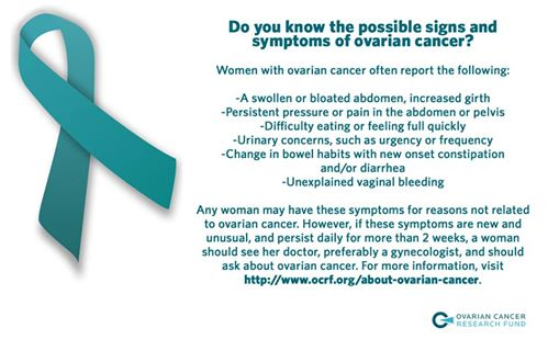 A reminder that all women should know the signs and symptoms of #ovariancancer. Get informed, and spread the word! http://t.co/viSnFq8R6T