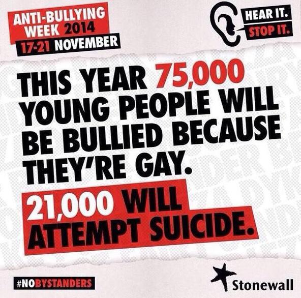 It's anti-bullying week. Share and support the @stonewalluk #nobystanders campaign ! Thanku