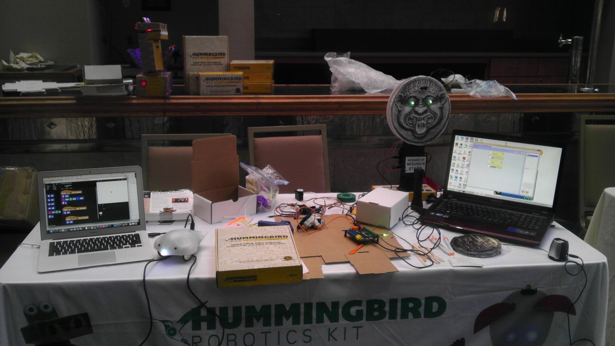 RT @birdbraintech: We're at #TRETC2014 showing off the Hummingbird Duo, having fun in the makerspace. http://t.co/3Hqo8tatLL