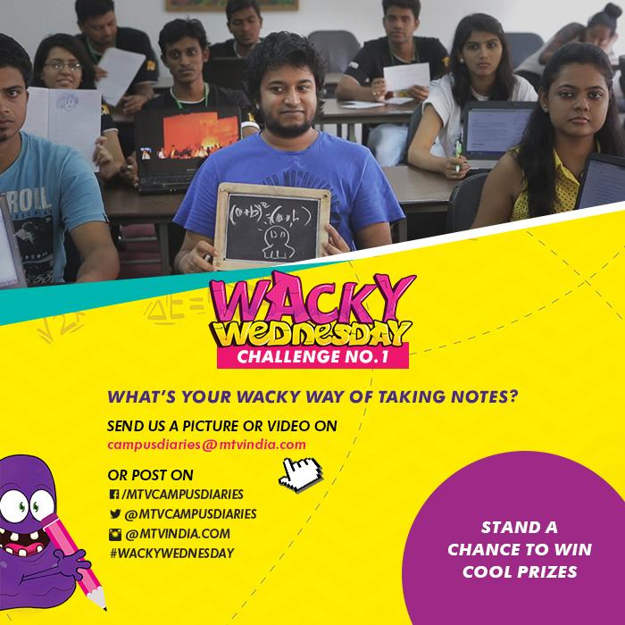 . @MTVCampusDiarie #WackyWednesday challenge 'What's your wacky way of taking notes' Send in pix/video & win prizes! http://t.co/DKsmthVSXM