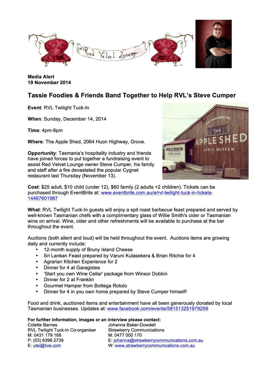 Join #tassie foodie friends to help out Red Velvet Lounge #assistRVL Please RT http://t.co/SylnDk5utJ
