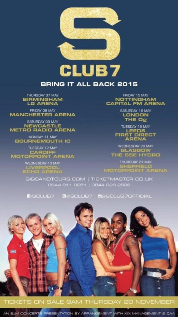 Tickets on sale tomorrow 9am!!!!! @sclub7 #bringitallback2015