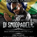 #DJSNOOPADELIC LIVE N BRAZIL march26-april5 cities to be announced soon ! s/o to @iforphin + RioEG. UGOT2DOIT UBITCHU http://t.co/C77dcaSabs