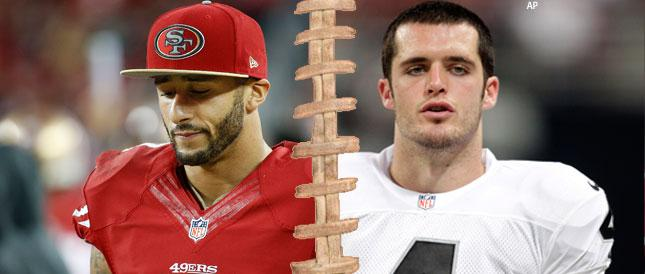 Which QB would you rather have for the next 5 years?  RT for Derek Carr FAV for Colin Kaepernick http://t.co/KbJRjLkl9q