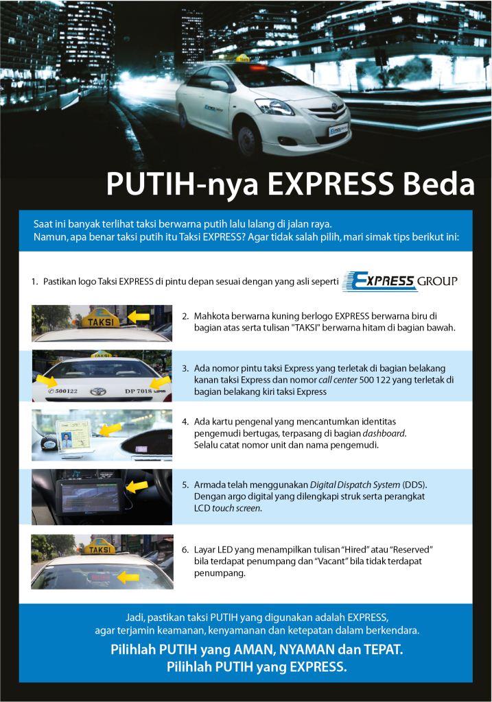 Untuk keamanan, sebaiknya selalu perhatikan ciri-ciri layanan taksi Express resmi yg dinaiki:#PutihnyaExpressBeda http://t.co/sqhhgXLWzU