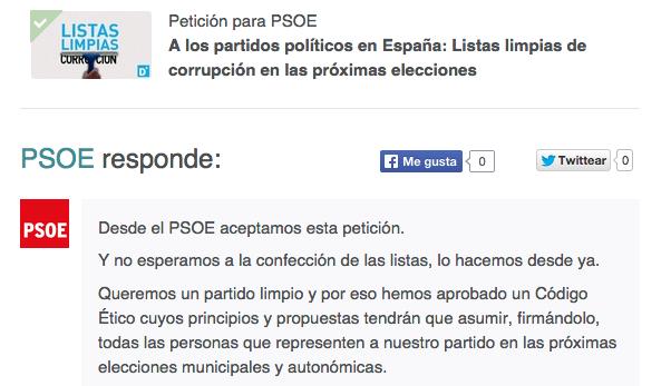 ÚLTIMA HORA: el @psoe responde la petición sobre listas limpias de corrupción http://t.co/ItJr5aaLRG http://t.co/ZvBRZ2Aopn
