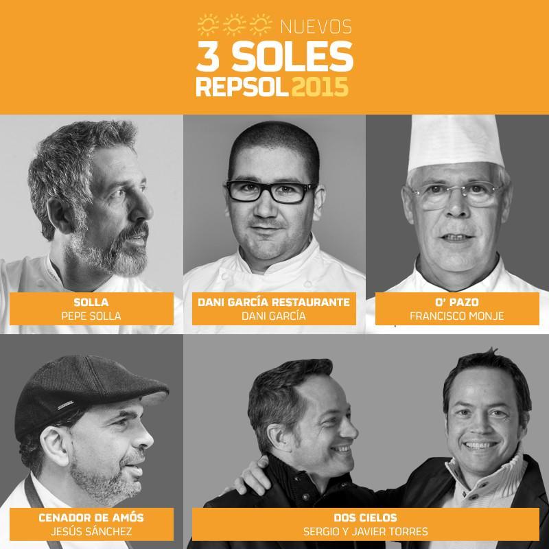 Enhorabuena @PepeSolla, @danigarcia_ca, @_JesusSanchez, @HermanosTorres y Fco. Monje, nuevos 3 Soles #GuiaRepsol2015 http://t.co/tdssC2Shrq