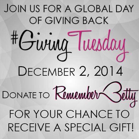"""It's #GivingTuesday! I gave. Did you? Check out http://t.co/6cmH2horXM on how YOU can help @RememberBetty! http://t.co/JfxBI0LZKG"""""""