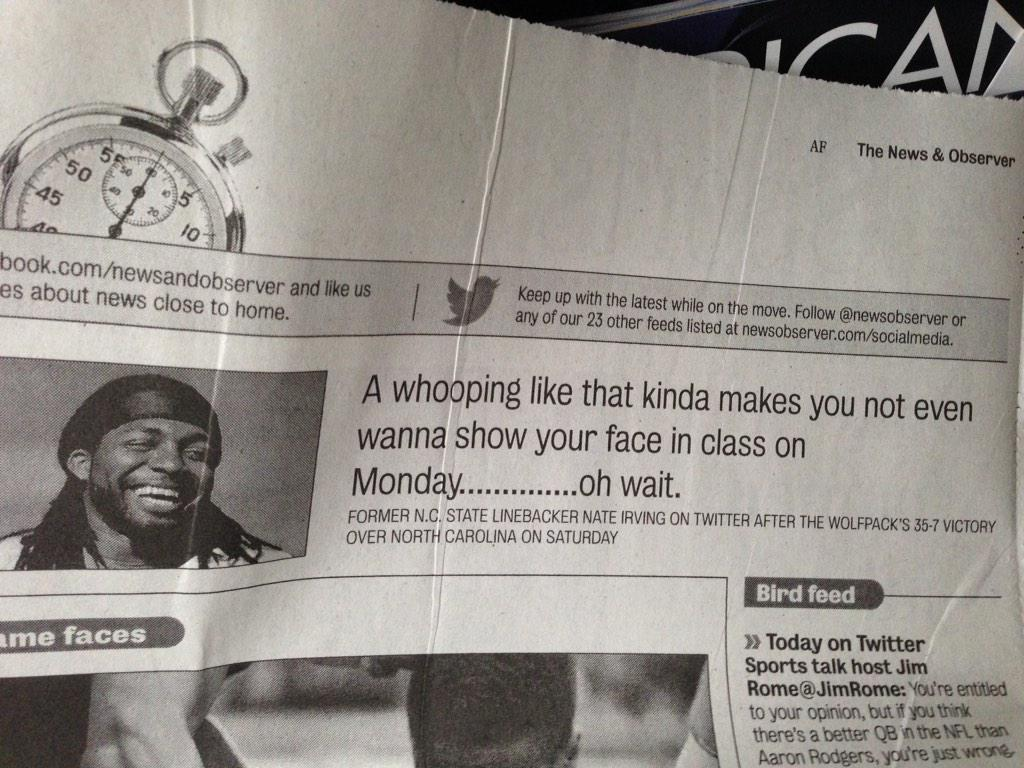 Haha @JusSayNate's tweet is highlighted in the N&O. Cc @WolfpackPatrol http://t.co/lYz6wMxsVI