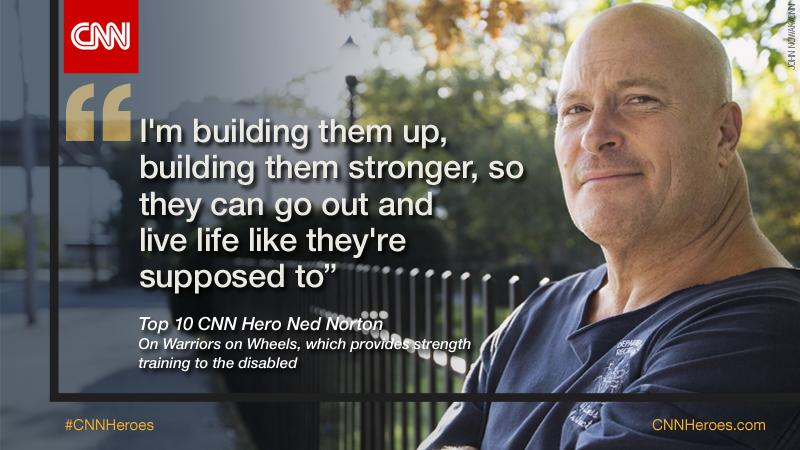 CNN Hero Ned Norton provides strength training to people living with disabilities with his org #WarriorsOnWheels. http://t.co/hYLwGYWiCE