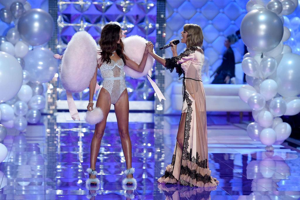 So cute! @LilyAldridge and @taylorswift13 share a sweet moment on the @VictoriasSecret runway: http://t.co/fS8925HEPI http://t.co/cwq3JpTzTV