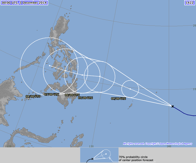 Morning all - here's the latest 5 day forecast track for #typhoon #Hagupit #RubyPH from JMA (Japan) http://t.co/ntj8ZbEV0d
