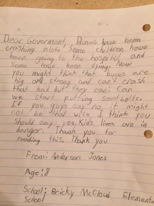 Tonight at 11 p.m. we talk to child who wrote this letter following today's tragic bus crash. http://t.co/2lX9alO7ry http://t.co/fZxDypsKtU