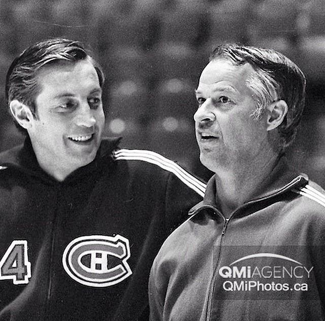 This photo carries a lot of weight tonight. Jean Beliveau & Gordie Howe together at Maple Leaf Gardens in 1972. http://t.co/3ll7T1LzC9