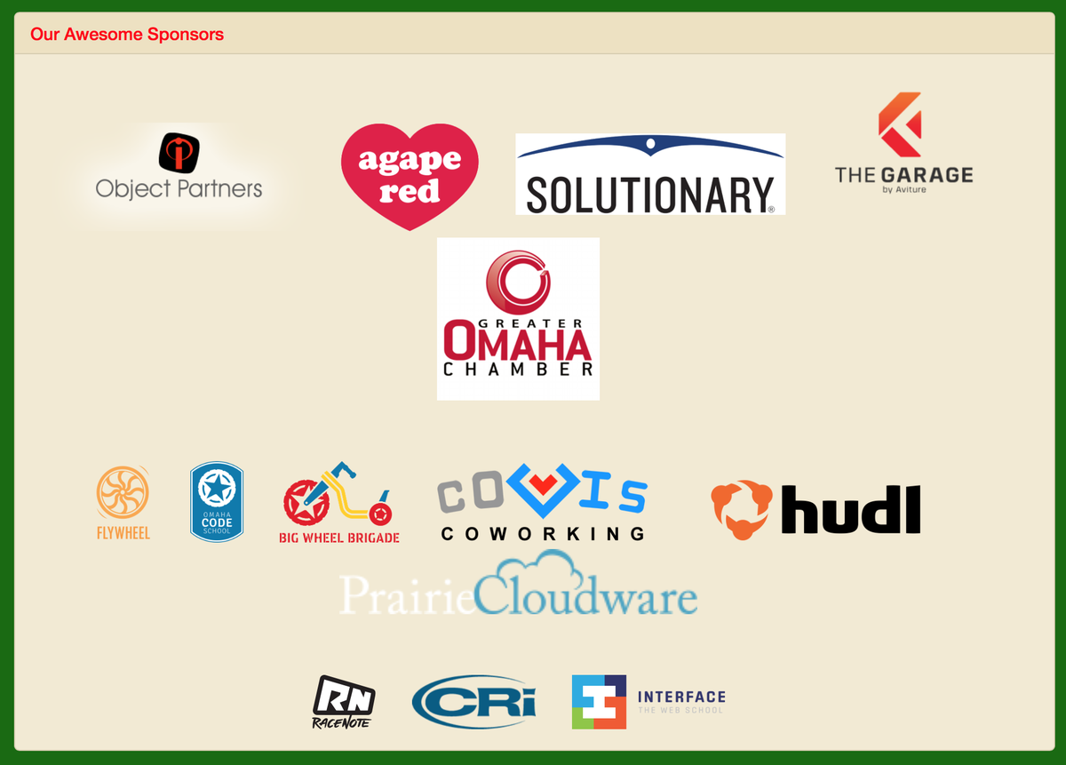 Sponsors for tonights #OmaTechParty really support the Omaha tech community. They also bought your beer and pizza! http://t.co/m4brdrEY7A