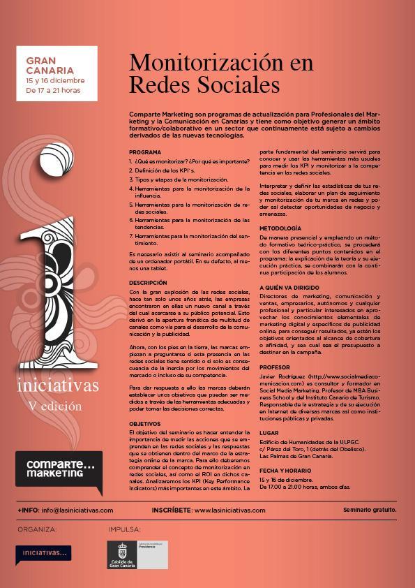 Nuevo #ComparteMK en GC sobre la Monitorización en #RedesSociales impartido por Javier Rodríguez @elgauchocanario http://t.co/o0mVSBojaF