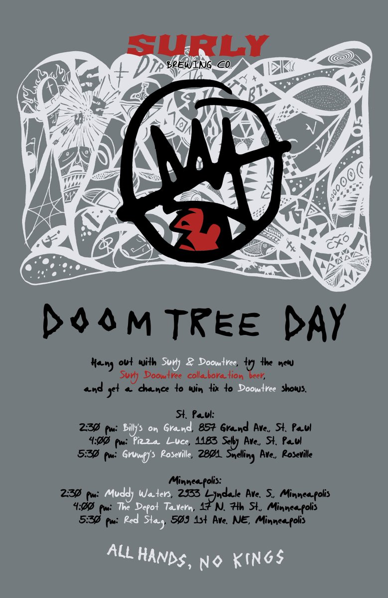 SURLY @DOOMTREE DAY bar crawl is 12/7! Retweet for chance to win 2 spots on crew bus. Winner picked @ Noon Thur. http://t.co/gVMeGBGjZr