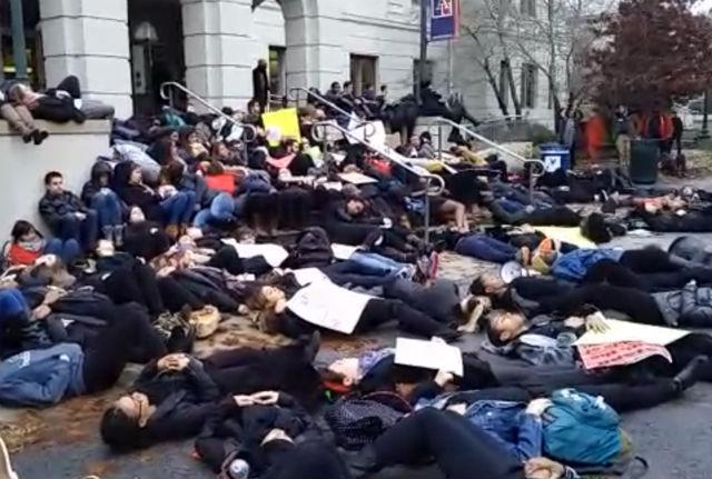 Eric Garner decision becomes part of #DCFerguson demonstration at American University. http://t.co/cR9liU0Tib http://t.co/WTaG3m6Oq9