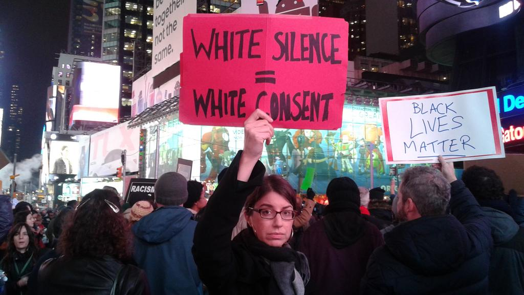 Be loud. #BlackLivesMatter RT @CandisLynnT: #timesquare action #Justice4EricGarner #whitesilence = #whiteconsent http://t.co/sEqVeAoKZw