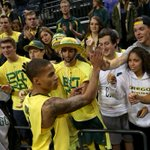 Young celebrates with the Pit Crew after the Toledo win MT @SteveMims_RG: Ducks 3-0, 78-68 over Toledo. Young w/ 24. http://t.co/BCrs2eIafF
