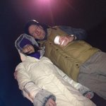 Heres @DaveAllanComs & @BernieAllan trying to keep warm @BigTeesSleepout - at least its stopped raining! http://t.co/6xiI889SAq