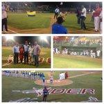 Con lanzamiento de la 1era bola, por el alcalde @DionisioVelez, se da inicio al béisbol profesional en Ctg @ivansanes http://t.co/em1LKw4kNU