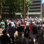 Huge crowd gathering at Town Hall today to support the #OurABC campaign http://t.co/tCVZcgFoc1