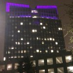 Fort Worths skyline is purple tonight in support of the hometown #TCU Horned Frogs. http://t.co/i94kkarhuO