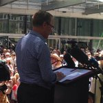 @QuentinDempster addressing the #ourABC #SaveOurABC rally http://t.co/2ACG1amQzx