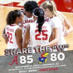 .@AlabamaWBB tops Kansas, 85-80, to hand the Jayhawks their first loss of the season! Share the W! #RollTide http://t.co/NfOnQBS4f1