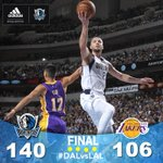 FINAL: #MavsWin! Mavs defeat Lakers 140-106! Dirk ends with 23 pts & Chandler Parsons had 21 pts! #DALvsLAL http://t.co/UVmDmv31Q1