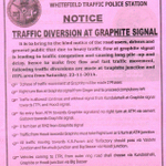 All road users, please find the traffic diversions made from today at Graphite India Jn. and ITPL Area (Whitefield). http://t.co/AZG0SnSuoa