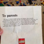 Lego note to parents in kit from 70s... http://t.co/u9tqrw1aOF