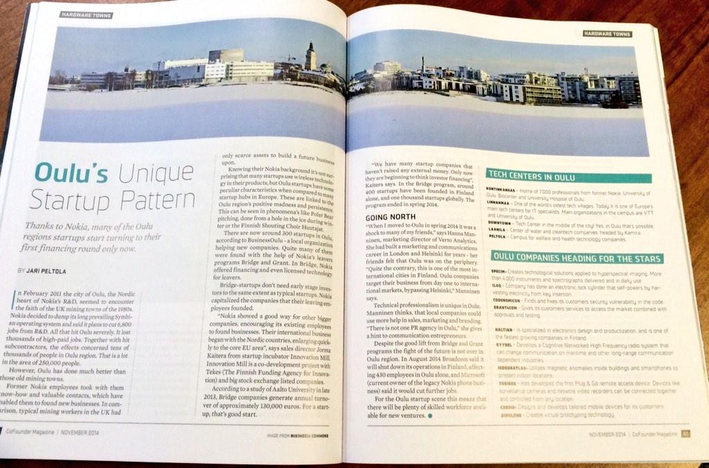 Great story, and a quote from me;), about #Oulu #startup scene in @virki's new mag, CoFounder #digitalist http://t.co/FoLzPan9Kp