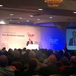 Rousing reception for Gregory Campbell, who brings a pot of yoghurt to the lectern & says curry is for lunch #DUP14 http://t.co/P5p9hMlwf0