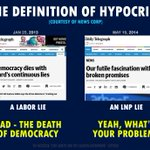 The definition of hypocrisy courtesy of News Corp. One set of rules for Labor, another for the LNP. #AusPol http://t.co/8N2vYsSkLk