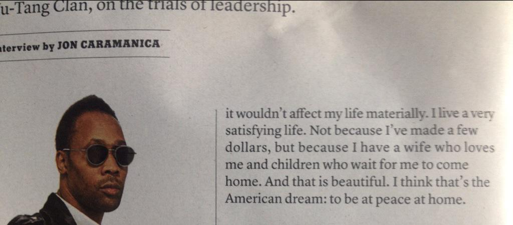 I think that's the American dream: to be at peace at home. (the RZA) http://t.co/8W0Ov3kVbw