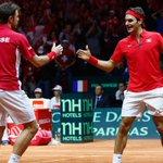 .@rogerfederer & @stanwawrinka give Switzerland 2-1 lead vs. France in @DavisCup final. http://t.co/znLKV3boFp #atp http://t.co/YpRqA7rqQ6